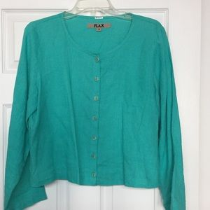 Flax 100% linen teal button front jacket lagenlook
